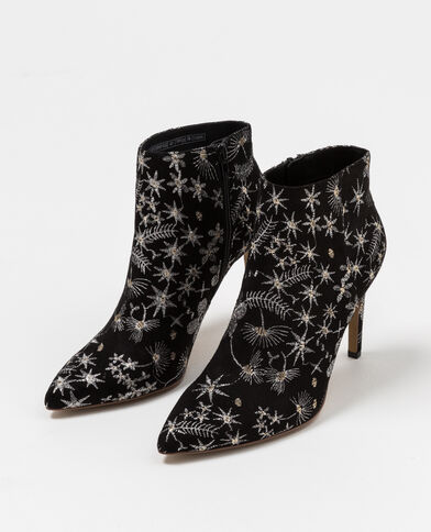 Bottines à broderies noir