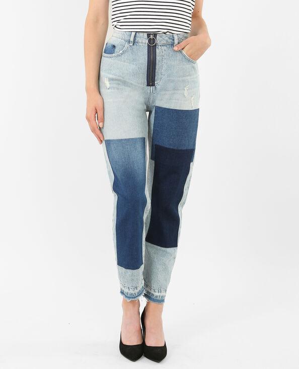 Mom jeans met patches denimblauw