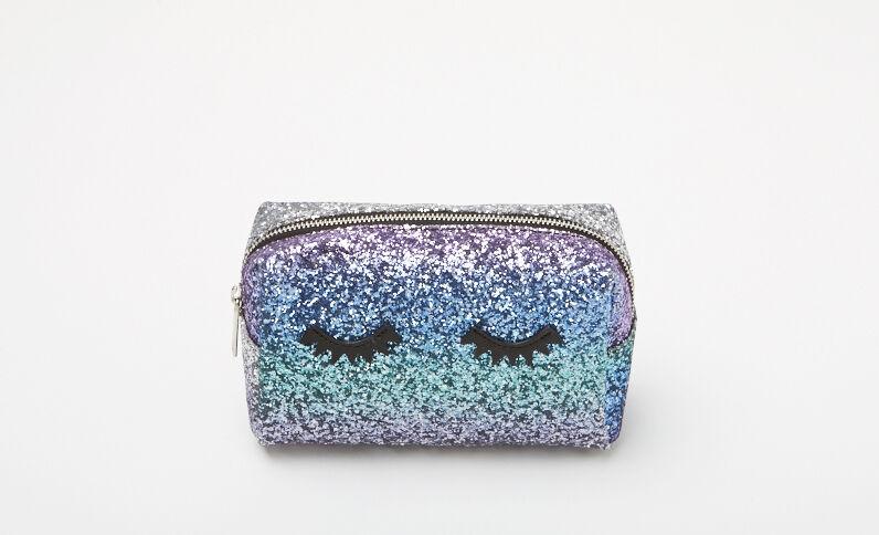 Make-uptasje met glitters blauw