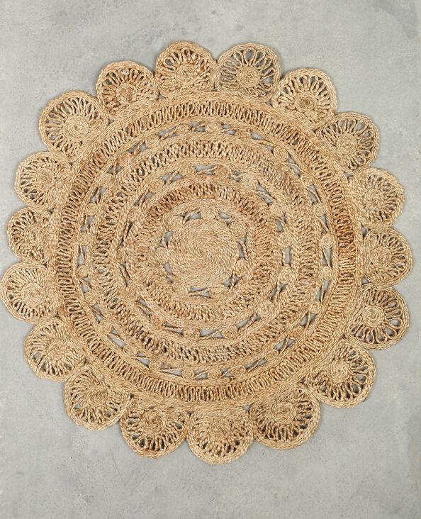 Rond tapijt van jute taupebeige
