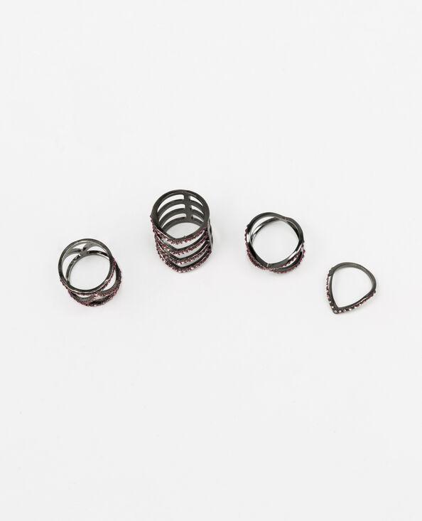 Set van 4 ringen met glittersteentjes goudkleurig