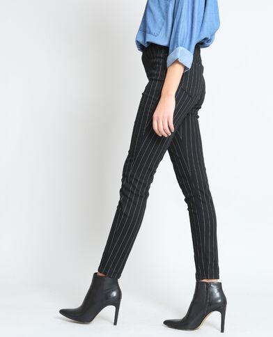 Gestreepte skinny broek zwart
