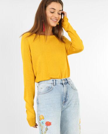 Lichte basic trui geel