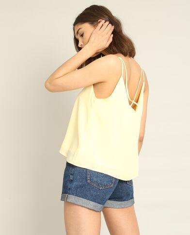 Topje met dunne schouderbandjes geel