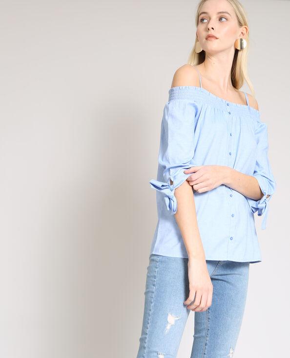 Overhemd met bardothals Lichtblauw