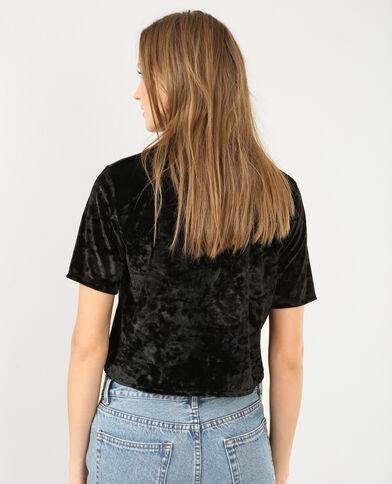 Cropped top van velours zwart