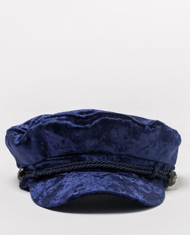 Fluwelen zeemanspet blauw