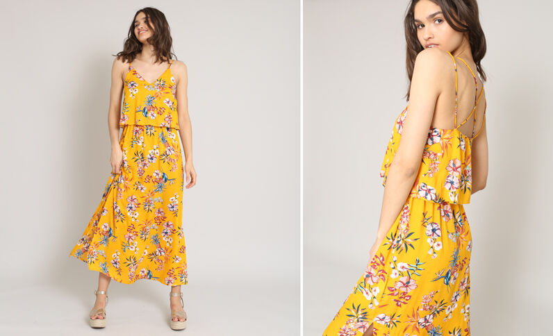 Lange jurk met bloemenprint geel