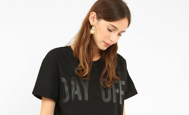T-shirt court à message noir