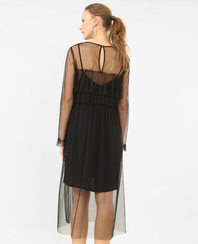 2-in-1-jurk van tule zwart