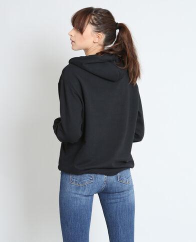 Geborduurde sweater met kap zwart