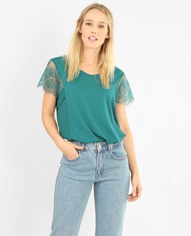 Kanten T-shirt groen