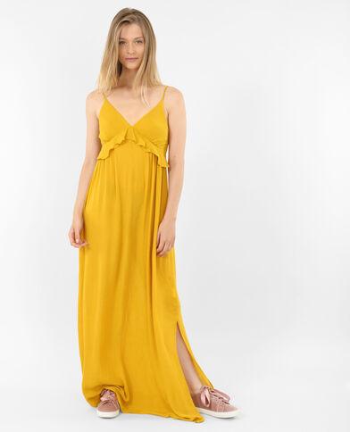 Lange jurk met ruches mosterdgeel
