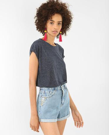 T-shirt met korte mouwen marineblauw