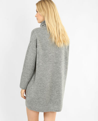 Robe pull à col roulé gris chiné
