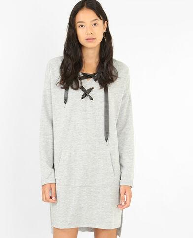 Trui-jurk met veters gemêleerd grijs