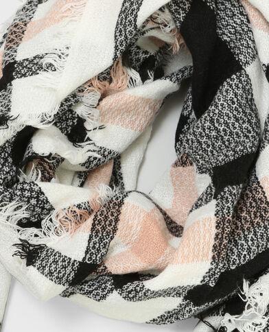 Sjaaltje met ruitjes gebroken wit