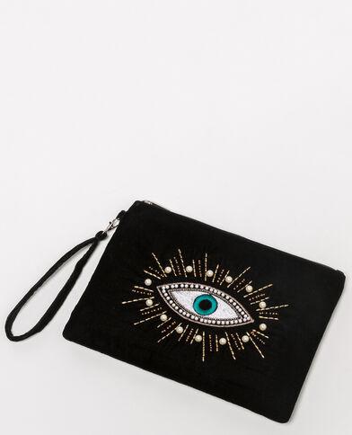 Fluwelen enveloptasje met oogje zwart