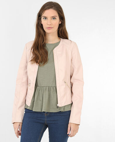Veste en simili cuir rose