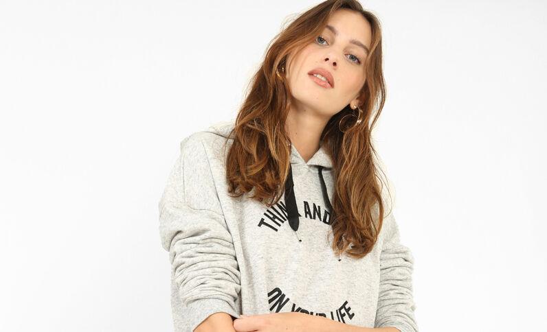 Sweater met kap parelgrijs