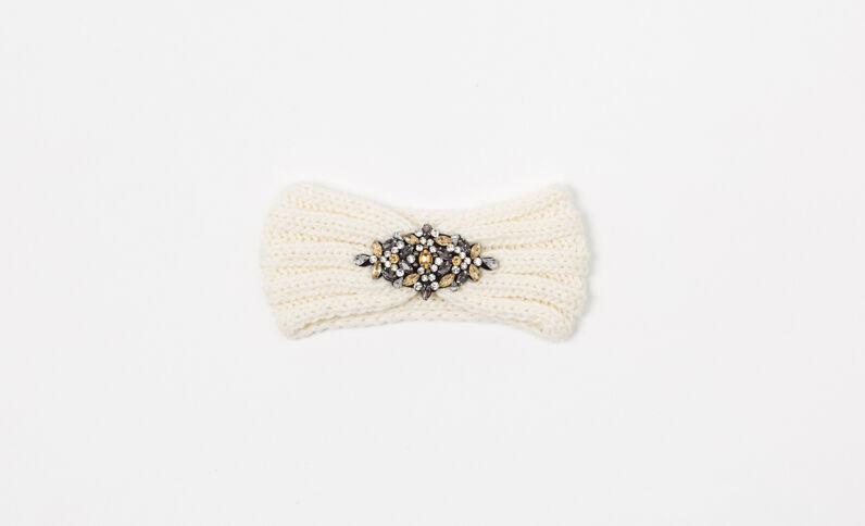 Hoofdband met sieraden gebroken wit