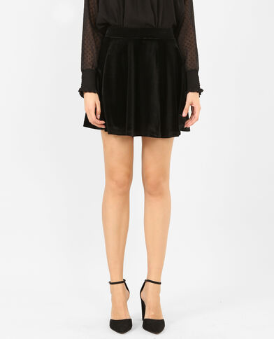 Mini jupe patineuse effet velours noir