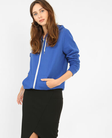Sweat zippé bleu électrique