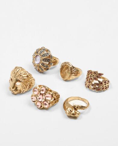 Set van 6 ringen goudkleurig