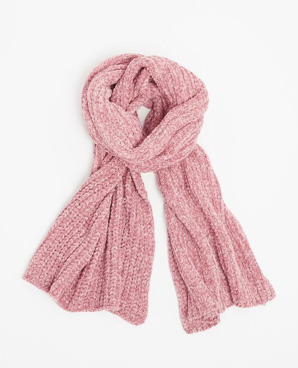 Sjaal van chenilletricot roze