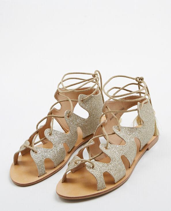 Platte sandalen met glitter goudkleurig