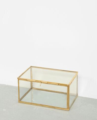 Doosje van glas en metaal goudkleurig