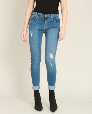 Skinny jeans met destroyed effect en omslag blauw