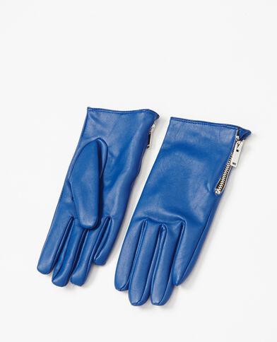 Handschoenen van kunstleer blauw