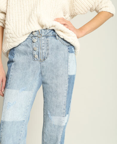 Rechte jeans met middelhoge taille hemelsblauw