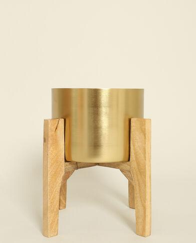 Grote vaas op houten pootjes goudkleurig