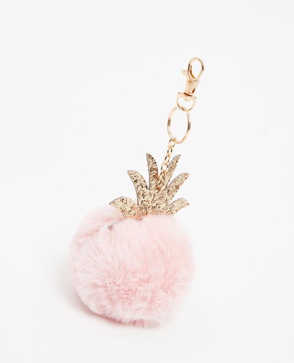 Sleutelhanger met ananasvormig kwastje roze