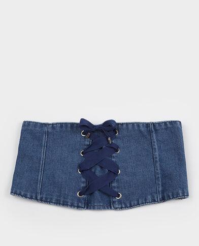 Korsetriem van jeans blauw
