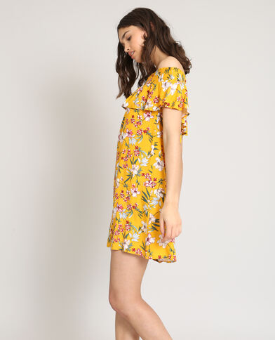 Robe col bardot fleurie jaune