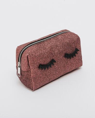 Make-uptasje met glitter eyes granaatrood