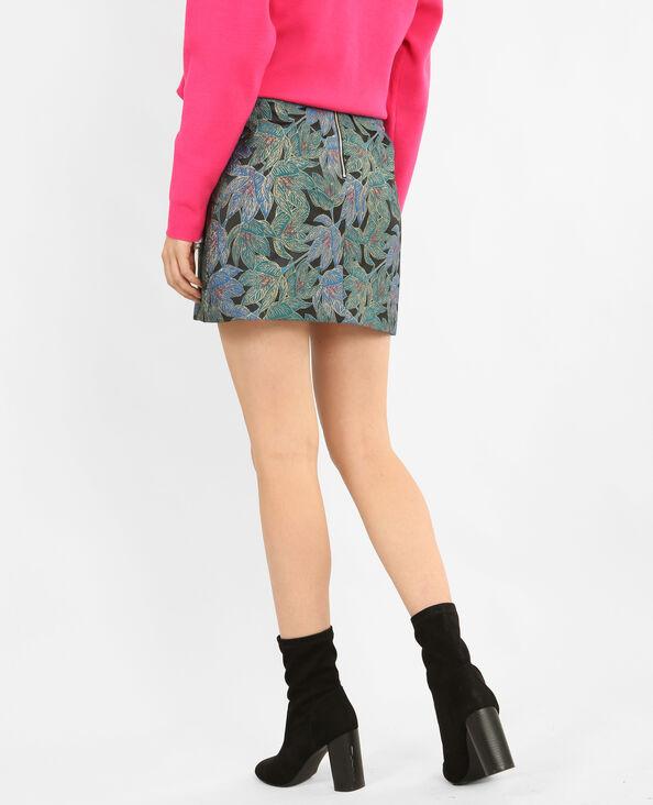 Bedrukte rok met ritsen groen