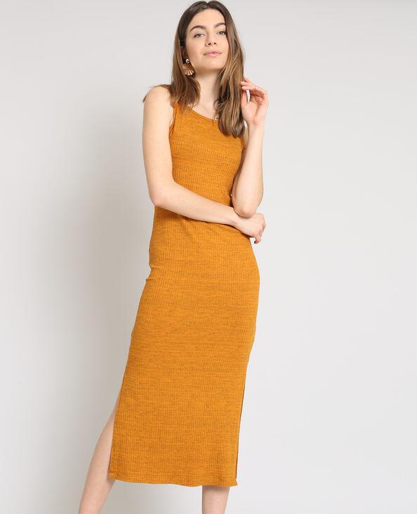 Lange, strakke jurk bruin
