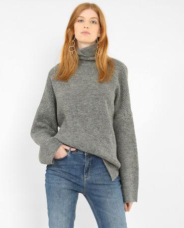 Warme trui met rolkraag gemêleerd grijs