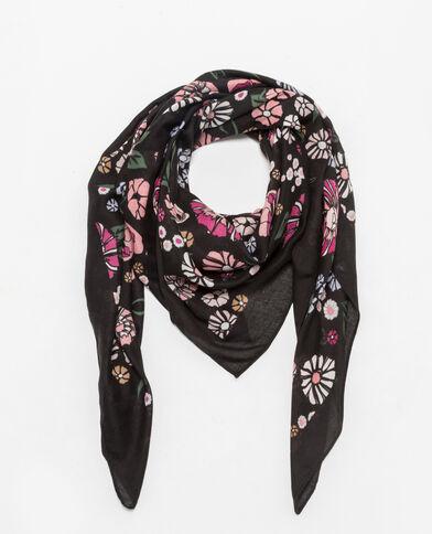 Foulard met bloemenprint zwart