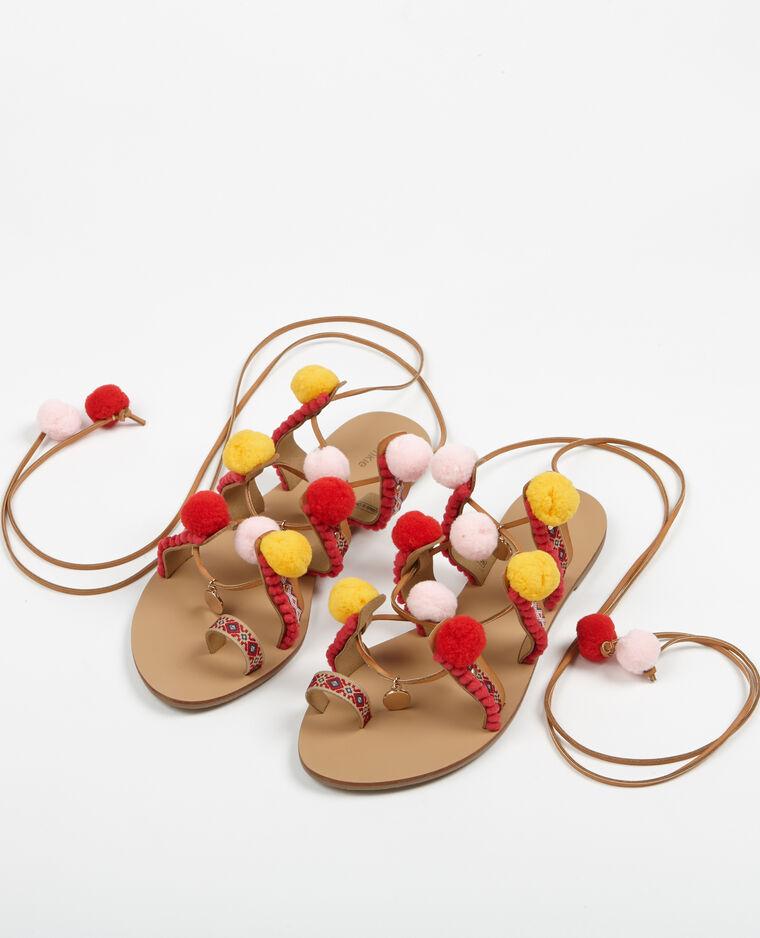 sandales ethniques pompons camel 904444714f42 pimkie. Black Bedroom Furniture Sets. Home Design Ideas