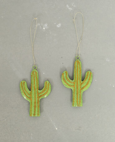 Lot de 2 décos cactus vert