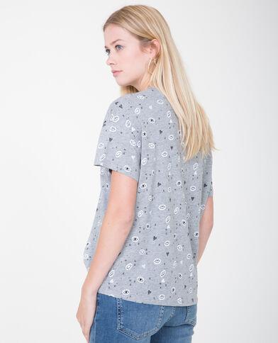 T-shirt met motieven grijs