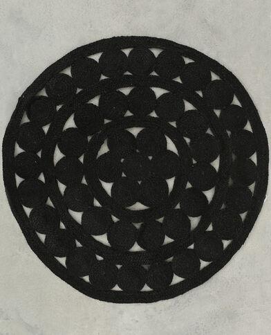 Mandalatapijt van jute zwart