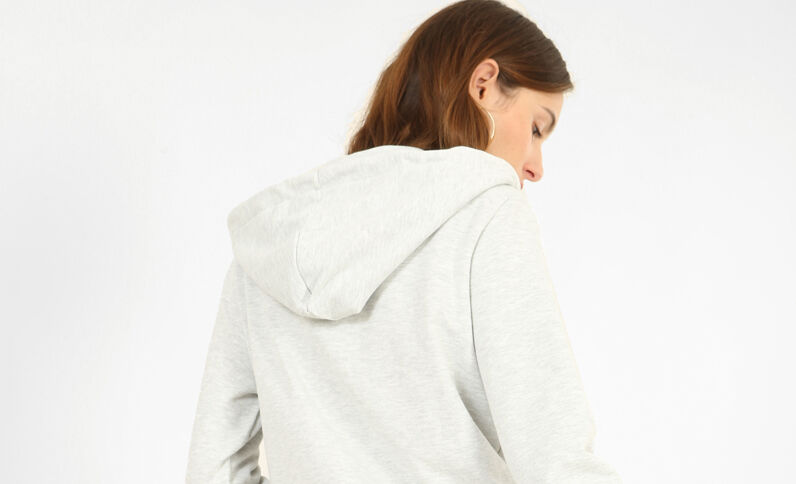 Sweat zippé gris perle