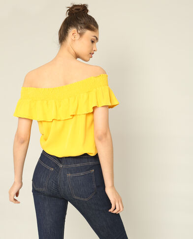 Blouse à volants jaune