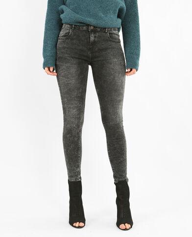 Skinny broek met destroyed effect zwart